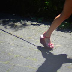 The Leash (Arthur Koek) Tags: leash shadow girl leg foot pink wedgesandal shoe wedgie liftie tattoo pavement candid harderwijk veluwe gelderland thenetherlands