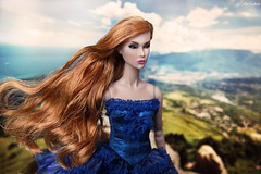 Eden Trouble (ArLekin26113) Tags: eden trouble integrity fashionroyalty fashiondoll jasonwu nuface redhead bluedress bluesky longhair wind mountain