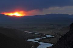 Sunset over the Missouri (Moffat Road) Tags: sunset bnsf graintrain mountains canyon river sun missouririver mrl mrlsecondsubdivision mrl2ndsub toston montana train railroad evening mt