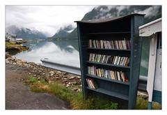 Booksellers @ The Fjord (YIP2) Tags: book books bookseller fjaerland landscape water fjærlandsfjorden norway fjord sognogfjordane bookshop booktown mountains naust norge yellow fjærland
