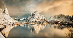 Reine panorama. (darklogan1) Tags: reine lofoten norway snow morning fiord landscape cabins logan darklogan1 clouds harbour seascape warm serene a7r2 sony reflection