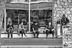 Coffee Break (Mister Day) Tags: people street break coffee retail thriftstore clerks noir blackandwhite
