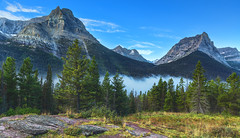 Glacier Mountains 3 (Stuzal) Tags: mountains trees pines clouds blue snow ice glacier nationalpark glaciernationalpark montana usa travel america green yellow mist fog haze morning camping hiking spring cold hdr