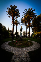 Achilles (Rabican7) Tags: greece corfu island summer statue achilles palace terrace palmtrees palms silhouette hero sunset sky blue plants