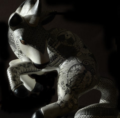 Mexican horse- Oaxaca arts & crafts (geraldineh.dutilly) Tags: horse light black white object mexico art crafts