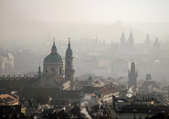 A city wakes (10000 wishes) Tags: prague travel cathedral cityscape morning cold freezing firstlight dawn smoke chimneys light haze mist