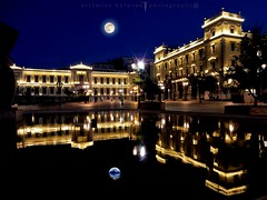 Athens light reflections (artemioskaravas) Tags: water town shadow exposure exploration reflections refection urban artemiosphotos greece athens street streetphotography attica stars sky city fullmoon building light night photography lighttrails ελλάδα πλκοτζια εθνικητραπεζα