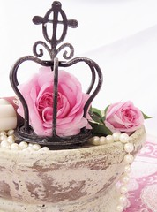 The Queen (Poppins' Garden) Tags: thequeenofdenmark pink rose stilllife crown pearl