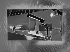 IMG_1431 / in an artist studio, prismatized (janeland) Tags: sanfrancisco california 94110 workspaceltd openstudios october 2016 prisma prismatized blackandwhite bw interior