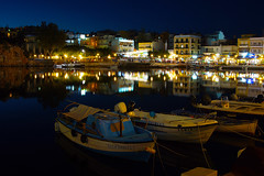 night reflections (murtica27) Tags: night nocturne nacht monochrome cretan kriti crete kreta agios nikolaos sony alpha tripod reflection outdoor blue travel reflections water mittelmeer greece extreme stadt coast city town summer season mirroring murtica