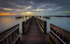 Tranquility (tshabazzphotography) Tags: pier fishing longexposurephotography longexposurejunkies alone wood hdr hdrphotography hdrlovers photomatix st johns river florida titusville tropics water sunrise sun sunriselovers space coast canon canont5i