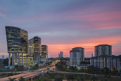MACC Headquarters + Apartment (adamraufz.inc) Tags: nonehdr highangleview sunset putrajaya tranquility outdoor cityscape cityskyline city slowshutter longexposure lighttrails