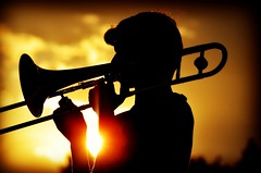 Jazzy Sunset (forestforthetress) Tags: music musician jazz instrument trombone omot nikon man color outdoor westofstaley westofstaleyjazzcombo champaign champaignparkdistrict mullikenpark