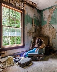 A gossamer web of unanswerables (sadandbeautiful (Sarah)) Tags: me woman female self selfportrait abandoned house abandonedhouse maryland suitcase trunk decay wallpaper carlsandburg