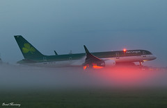 Misty Morning (birrlad) Tags: shannon snn international airport ireland aircraft aviation airplane airplanes airline airliner airlines airways approach arrival arriving finals landing runway morning dawn sunrise fog mist weather aerlingus asl aircontractors boeing b757 b752 757 757200 7572q8 eilbs shamrock ei110 newyork jfk beacon