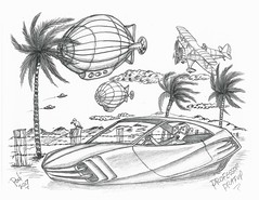Professor Pratup (rod1691) Tags: bw scifi grey concept custom car retro space hotrod drawing pencil h2 hb original story fantasy funny tale automotive art illistration greyscale moonpies sketch