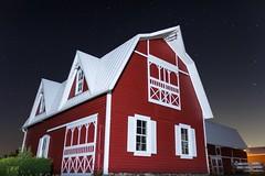 Night at the Farm (Bryan Flynn) Tags: barn window barnwindow barndoor red redbarn farm farmlife stars starrynight starry night nightsky sky michigan clinton clintonmichigan clintontownship