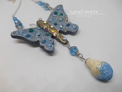 Polymer Clay Pendant Butterfly Breezes by LynzCraftz (LynzCraftz) Tags: polymerclay pendant jewelry necklace oneofakind handmade art resin