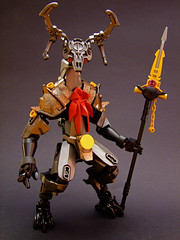 Myldiir the Steadfast (Djokson) Tags: beast deer knight armor forest spirit animal spear spikes antlers iron steel red gold black lego djokson bionicle moc toy model demon