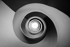 Unravelling (The Green Album) Tags: bilbao hotel spiral staircase unravel bw monochrome centre eye domine architecture modern contemporary fisheye fuji fujifilm xt2