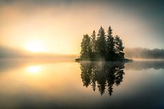 Misty Morning (Ville Airo) Tags: misty summer morning finland villeairo canon landscape fog mist island lake mood moody sun sunrise