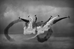 Take my word for it, they're red. (Steve.T.) Tags: blackandwhite redarrows bnw monochrome airshow airdisplay synchronisedflying flyinginformation flyinglegends trailingsmoke nikon d7200 iwmduxford duxford aviationphotography militaryaviation flying flyingdisplay raf royalairforce