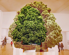 The Man Who Turned Into a Tree (kirstiecat (on vacation...)) Tags: multipleexposure linden martinhonert experiment creative art montreal montréal montrealmuseumoffinearts sculpture people strangers canada quebec