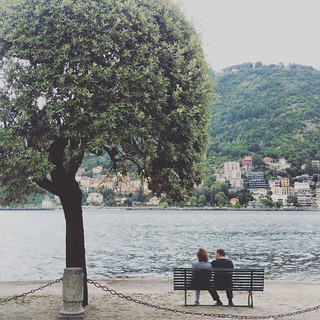 Tree Two People Sitting Relaxation Couple - Relationship Lake Lake View Lake Como Como Lake,Italy Como City Italy Italy❤️ Italia Painting
