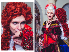 Historical costume (vishleva) Tags: studio historyc historical model costume decoration strong couple palace wig velvet light white