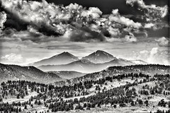 Hazy Day on Long's Peak (CTfotomagik) Tags: longs peak mountains rocky nature blackandwhite bw hazy foothills