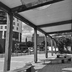 Shaded Pergola (metrogogo) Tags: shadedview birmingham buses eastside shade blackandwhite eastsidecitypark pergola gazebo