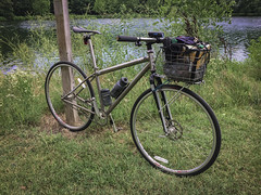 Bike-To Pool Party (bundokbiker) Tags: matt chester titanium fixie rack basket