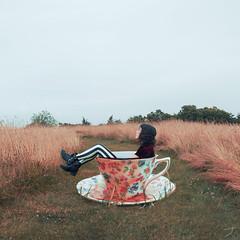 chill (lauren zaknoun) Tags: surreal surrealphotography conceptual conceptualphotography contemporaryart portrait selfportrait 100photos tea teacup teatime aliceinwonderland fairytale fantasy cup vintage antique field sky clouds gray gold summer girl laurenzaknoun
