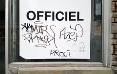 OFFICIEL PROUT (Exile on Ontario St) Tags: mileend alley ruelle alleyway montreal mile end ruelles alleys montréal graffiti business commerce officiel tags tag tagging prout fart noise onomatopea cute buttocks butt drawing cartoon comics funny amusing display window urban urbain