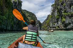 Kayaking in the Crystal Clear Waters of Big Lagoon, the Philippines (hpfkPhoto) Tags: kayak kayaking biglagoon big lagoon elnido el nido palawan philippines travel nature beauty beautiful water crystal clear rocks rock wall paradise tropical beach adventure