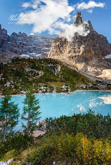 Lago di Sorapis (Callegher Marco - The beauty in my eyes) Tags: mountain landscape lake sorapis cortina dolomiti dolomites cloud nuvola sky colors morning