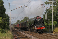 46233 storms through Bolton-le-Sands (Andrew Edkins) Tags: 46233 duchessofsutherland lms stanier boltonlesands cumbrianmountainexpress mainlinesteam westcoastmainline charter canon railwayphotography steamtrain pacific geotagged trip travel