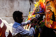 Backstage series   Mayana Kollai,Bhuvanagiri,Chidambaram. (Vijayaraj PS) Tags: india asia nikond3200 streetphotography indianstreetphotography street indianculture tamilnadu angalamman mayanakollai light shadows tradition makeover backstage village eyes people blue yellow abstract texture wall crack