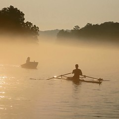 morning glint (jim_ATL) Tags: rowing scull one man silhouette morning mist glint chattahoochee river atlanta