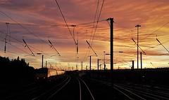 East Coast Mainline Sunrise at Heaton (Gilli8888) Tags: heaton newcastle railway ecml overheads silhouette sunrise silhouettephotography sky linear train light shadows railwayline panorama northeast virgin virgineastcoast dawn