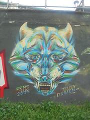 705 (en-ri) Tags: truly design 2015 rems 182 lupo wolf testa head azzurro giallo nero torino wall muro graffiti writing