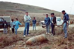 Plain of Jars, Examining Unexploded Ordnance, 1992