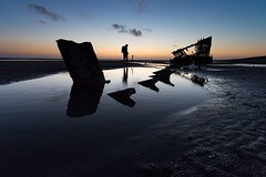 Like a fish bone (RaminN) Tags: fishbone reflection photographer silhouettes twilight ship wreckofthepeteriredale