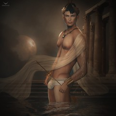 Cub~Greek God (Skip Staheli *OPENING SOON!*) Tags: skipstaheli secondlife sl avatar virtualworld dreamy digitalpainting cubitosmit cubsmit hunk greek water dripping arrow veil fantasy moon moonlight night reflection