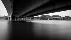 Under the Bridge (Nikonphotography D750) Tags: blackandwhite schwarzweiss 169 widescreen 169widescreen sonyphotography sonyalpha sonyalpha6000 sonyilce6000 landschaft landschaftsfotografie landscape landscapephotography filter langzeitbelichtung longtimeexposure mittelfranken graufilter polfilter waterreflection brücke bridge underthebridge urban citylife nürnberg nuremberg