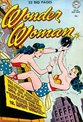 Wonder Woman #48 (1951), cover by Irv Novick (Tom Simpson) Tags: wonderwoman 1951 cover irvnovick 1950s robot comicbook illustration art vintage fight bomb city