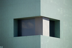 Cloud Trap #02 (occhi0x0cchio) Tags: 02 rough architecture blue green gray noon city rome new smooth wall window glass aluminum concrete