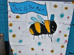Manchester street art (rossendale2016) Tags: painting fantastic quarter northern square stevenson wall stencil stencilled painted clever artistic replica flag centre city arms cost shield insect flying iconic bee place is this art street manchester