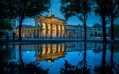 Berlin Reflections (andreasmally) Tags: berlin brandenburger tor brandenburg gate deutschland germany water wasser blue hour spiegelung
