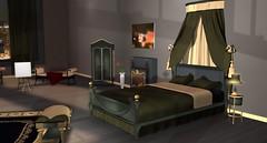 Victorian Jade Bed (Akaesha Revnik) Tags: second life secondlife akaesha react animated furniture animations couple bed bath sofa set